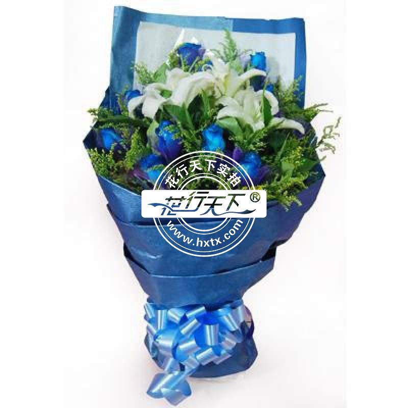 [名 称]:相知相守C [编 号]:XH00246 [材 料]:白色多头香水百合1支,蓝玫瑰9朵,黄莺和栀子叶丰满 [包 装]:白色和蓝色包装纸如图包装,蓝色丝带束扎 [花 语]:相知是一种宿命,心灵的交汇让我们有诉不尽的浪漫情怀;相守是一种承诺,人世轮回中,永远铭记我们这段美丽的爱情故事! [适合场合]:恋情,生日,祝福,节日 [配送范围]:本产品全国各地均可送达 [订花热线]:400-702-6699
